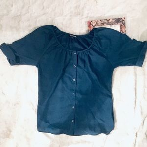 Express Button Up Blouse Teal Small Career Top